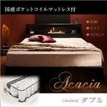 収納ベッド ダブル【Acacia】【国産ポケットコイルマットレス付き】 ブラック モダンライト・コンセント付き収納ベッド【Acacia】アケーシア