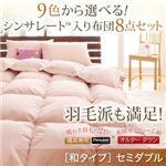 布団8点セット セミダブル【和タイプ】モスグリーン 9色から選べる!シンサレート入り布団セット