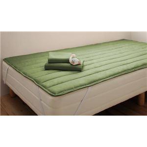 脚付きマットレスベッド セミシングル 脚22cm オリーブグリーン 新・ショート丈ポケットコイルマットレスベッド - 拡大画像