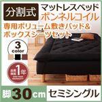 脚付きマットレスベッド セミシングル 脚30cm ブラック 新・移動ラクラク!分割式ボンネルコイルマットレスベッド 専用敷きパッドセット
