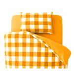 布団カバーセット 4点セット【和式用】ダブル 柄:チェック カラー:オレンジ 32色柄から選べるスーパーマイクロフリースカバーシリーズ