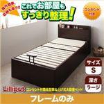 収納ベッド シングル 深さラージ【Lilliput 】【フレームのみ】 ダークブラウン コンセント付簡易型跳ね上げ式大容量収納ベッド 【Lilliput 】リリパット