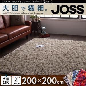 カラフルミックスボリュームシャギーラグ【JOSS】ジョス 200×200cm (色:レッド)  - 一人暮らしお助けグッズ