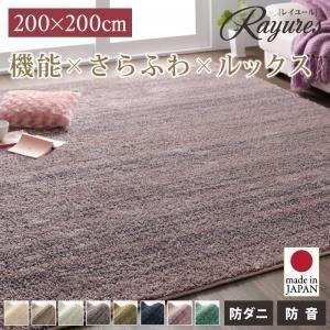 ラグマット 200×200cm【rayures】グリーンブルー さらふわ国産ミックスシャギーラグ【rayures】レイユール - 拡大画像