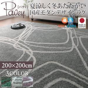 ラグマット 200×200cm【pavey】グリーンブルー 夏涼しく冬あたたかい 国産モダンデザインラグ【pavey】パヴィ - 拡大画像