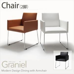 【テーブルなし】チェア2脚セット【Graniel】ホワイト モダンデザインアームチェア付きダイニング【Graniel】グラニエル チェア2脚 - 拡大画像