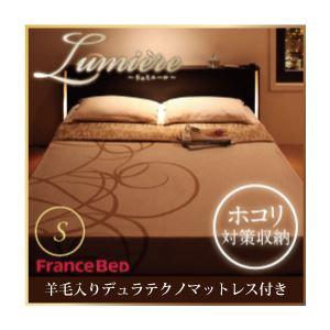 収納ベッド シングル【Lumiere】【羊毛入りデュラテクノマットレス付き】 ダークブラウン モダンライト・コンセント付き収納ベッド【Lumiere】リュミエール - 拡大画像