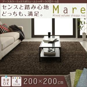 アースカラーミックスボリュームシャギーラグ【Mare】マーレ 200×200cm (色:ブラウン)  - 一人暮らしお助けグッズ