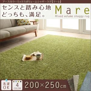 アースカラーミックスボリュームシャギーラグ【Mare】マーレ 200×250cm (色:ベージュ)  - 一人暮らしお助けグッズ