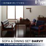 ダイニングセット 4点セット【DARVY】(テーブル幅160cm+2人掛けソファ+1人掛けソファ×2) バイキャストブラック ソファ&ダイニングセット【DARVY】ダーヴィ