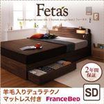 収納ベッド セミダブル【Fetas】【羊毛入りデュラテクノマットレス付き】 ブラック 照明・コンセント付き収納ベッド 【Fetas】フィータス
