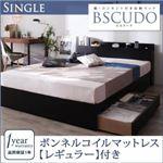 収納ベッド シングル【Bscudo】【ボンネルコイルマットレス(レギュラー)付き】フレーム:ブラック マットレス:ブラック 棚・コンセント付き収納ベッド【Bscudo】ビスクード