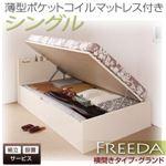 【組立設置費込】収納ベッド シングル・グランド【横開き】【Freeda】【薄型ポケットコイルマットレス付】ナチュラル 国産跳ね上げ収納ベッド【Freeda】フリーダ