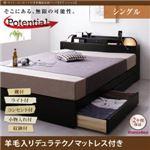 収納ベッド シングル【Potential】【羊毛入りデュラテクノマットレス付き】ブラック 棚・ライト・コンセント付き多機能収納ベッド【Potential】ポテンシャル