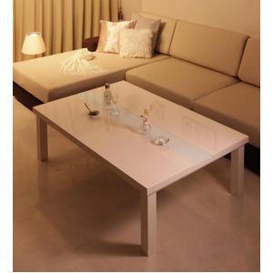 【単品】こたつテーブル 長方形(120×80cm)【VADIT】ダブルホワイト 鏡面仕上げ アーバンモダンデザインこたつテーブル【VADIT】バディット - 拡大画像