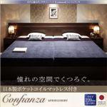 ベッド ワイド220【Confianza】【日本製ポケットコイルマットレス付き】ホワイト 家族で寝られるホテル風モダンデザインベッド【Confianza】コンフィアンサ