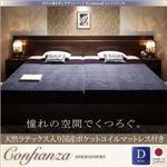 ベッド ダブル【Confianza】【天然ラテックス入日本製ポケットコイルマットレス付き】ホワイト 家族で寝られるホテル風モダンデザインベッド【Confianza】コンフィアンサ