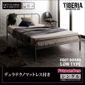 ベッド シングル フッドロー【Tiberia】【デュラテクノマットレス付き】フレームカラー:シルバーアッシュ デザインスチールベッド【Tiberia】ティベリア - 拡大画像