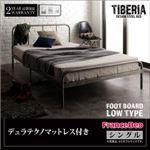 ベッド シングル フッドロー【Tiberia】【デュラテクノマットレス付き】フレームカラー:シルバーアッシュ デザインスチールベッド【Tiberia】ティベリア