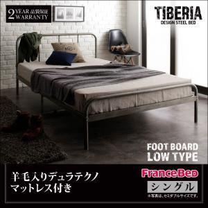 ベッド シングル フッドロー【Tiberia】【羊毛入りデュラテクノマットレス付き】フレームカラー:シルバーアッシュ デザインスチールベッド【Tiberia】ティベリア - 拡大画像