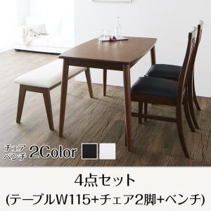 ダイニングセット 4点セット(テーブル+チェア2脚+ベンチ1脚) テーブル幅115cm テーブルカラー:ブラウン チェアカラー×ベンチカラー:ホワイト×ホワイト ファミリー向け タモ材 ハイバックチェアダイニング Daphne ダフネ