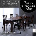 ダイニングセット 7点セット(テーブル+チェア6脚) テーブルカラー:ブラウン チェアカラー:ブラック4脚×ホワイト2脚 ハイバックチェア ウォールナット材 スライド伸縮式ダイニング Gemini ジェミニ