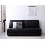 ソファーベッド 幅160cm ブラック ふたり寝られるモダンデザインソファベッド Nivelles ニヴェル