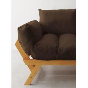 ソファー 2.5人掛け 座面カラー:ブラウン フレームカラー:ナチュラル 北欧デザイン天然木フレームソファ Lapua ラプア