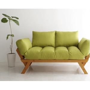 ソファー 2.5人掛け 座面カラー:モスグリーン フレームカラー:ナチュラル 北欧デザイン天然木フレームソファ Lapua ラプア - 拡大画像
