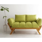 ソファー 2.5人掛け 座面カラー:モスグリーン フレームカラー:ナチュラル 北欧デザイン天然木フレームソファ Lapua ラプア