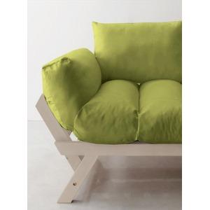 ソファー 2.5人掛け 座面カラー:モスグリーン フレームカラー:ホワイト 北欧デザイン天然木フレームソファ Lapua ラプア