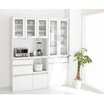 食器棚+レンジボードセット 幅60cm+幅90cm ホワイト 奥行41cmの薄型モダンデザインキッチン収納 Sfida スフィーダ