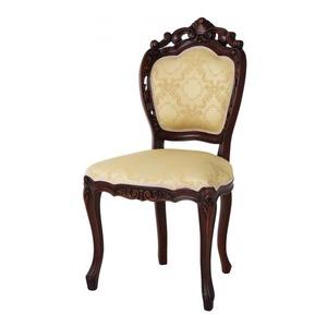 【テーブルなし】チェア(1脚) 【肘なし】カラー:ブラウン アンティーク調クラシックリビングシリーズ Francoise フランソワーズ