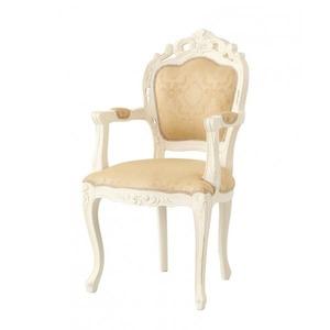 【テーブルなし】チェア(1脚) 【肘あり】カラー:ホワイト アンティーク調クラシックリビングシリーズ Francoise フランソワーズ