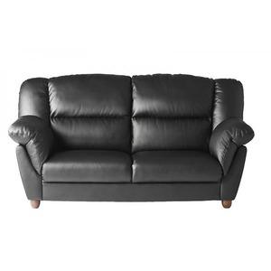 ソファー 3人掛け 座面カラー:ブラック 腰に優しいソファ EULAC ユーラック