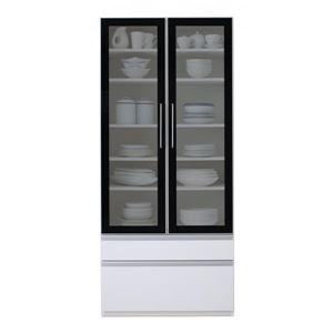 食器棚 幅80cm カラー:ハイグロスホワイト 完成品 大型レンジ対応 女性目線でデザインされたおしゃれキッチン収納 Aina アイナ