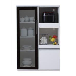 コンパクト食器棚 カラー:ハイグロスホワイト 完成品 大型レンジ対応 女性目線でデザインされたおしゃれキッチン収納 Aina アイナ