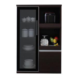 コンパクト食器棚 カラー:ウォルナットブラウン 完成品 大型レンジ対応 女性目線でデザインされたおしゃれキッチン収納 Aina アイナ