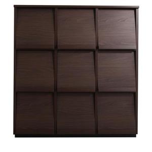 フラップチェスト【3列3段】メインカラー:ブラウン 低めで揃える壁面収納シリーズ Flip side フリップサイド