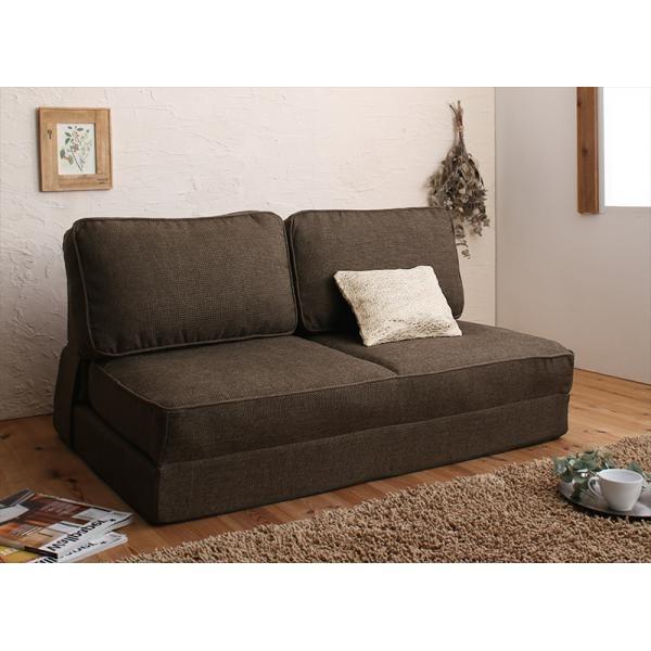 寝心地大満足のソファーベッド 120cm カラー:ブラウン 腰をしっかり支える スペース活用3WAYコンパクトフロアソファベッド Ernee エルネ