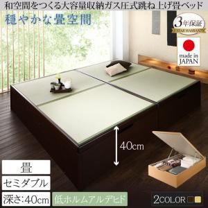 畳ベッド セミダブル 深さラージ【フレームのみ】フレームカラー:ダークブラウン くつろぎの和空間をつくる日本製大容量収納ガス圧式跳ね上げ畳ベッド 涼香 リョウカ - 拡大画像
