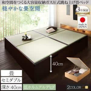 畳ベッド セミダブル 深さラージ【フレームのみ】フレームカラー:ナチュラル くつろぎの和空間をつくる日本製大容量収納ガス圧式跳ね上げ畳ベッド 涼香 リョウカ - 拡大画像