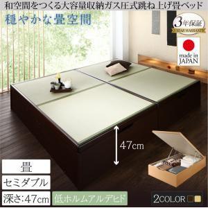 畳ベッド セミダブル 深さグランド【フレームのみ】フレームカラー:ナチュラル くつろぎの和空間をつくる日本製大容量収納ガス圧式跳ね上げ畳ベッド 涼香 リョウカ - 拡大画像