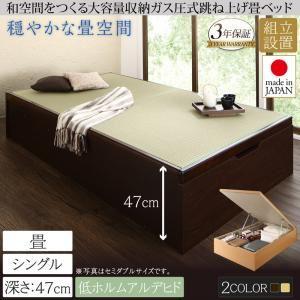 【組立設置費込】畳ベッド シングル 深さグランド【フレームのみ】フレームカラー:ダークブラウン くつろぎの和空間をつくる日本製大容量収納ガス圧式跳ね上げ畳ベッド 涼香 リョウカ - 拡大画像