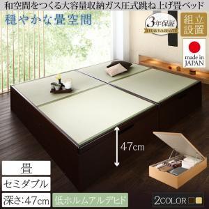 【組立設置費込】畳ベッド セミダブル 深さグランド【フレームのみ】フレームカラー:ダークブラウン くつろぎの和空間をつくる日本製大容量収納ガス圧式跳ね上げ畳ベッド 涼香 リョウカ - 拡大画像