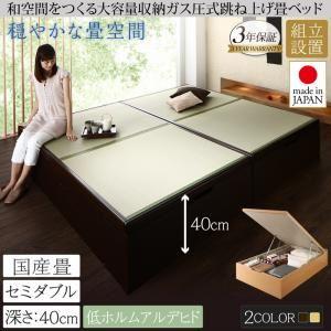 【組立設置費込】畳ベッド セミダブル 国産畳/深さラージ【フレームのみ】フレームカラー:ナチュラル くつろぎの和空間をつくる日本製大容量収納ガス圧式跳ね上げ畳ベッド 涼香 リョウカ - 拡大画像