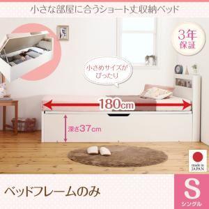 収納ベッド シングル 深さラージ【フレームのみ】フレームカラー:ホワイト 小さな部屋に合うショート丈収納ベッド Odette オデット - 拡大画像