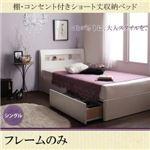 収納ベッド シングル  【フレームのみ】 フレームカラー:ホワイト  棚・コンセント付きショート丈収納ベッド collier コリエ