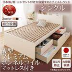 【組立設置費込】 収納ベッド シングル 【薄型プレミアムボンネルコイルマットレス付】 フレームカラー:ホワイト 日本製 棚・コンセント付き大容量すのこチェストベッド Salvato サルバト