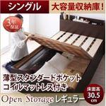 お客様組立 収納ベッド シングル 深さレギュラー  【薄型スタンダードポケットコイルマットレス付】 フレームカラー:ダークブラウン  シンプル大容量収納庫付きすのこベッド Open Storage オープンストレージ